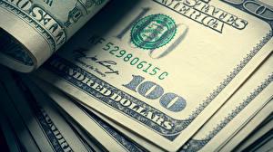 Фотография Деньги Купюры Доллары Крупным планом 100