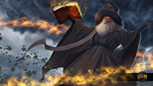 Фотография Волшебство Heroes of Newerth Колдун Шляпа Книга Vindi the Gray Vindicator Игры Фэнтези