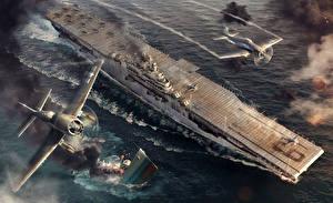Картинки World Of Warship Авианосец Война USS Essex Игры Авиация Армия