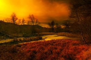 Картинка Франция Осенние Небо Трава Болото Thorenc