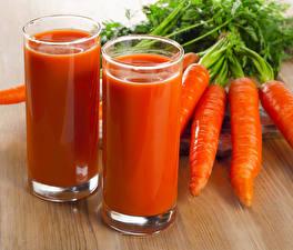 Фотографии Напиток Морковка Сок Стакан 2 Пища