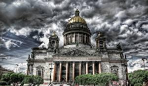 Картинки Санкт-Петербург Россия Собор Облака HDRI Saint Isaac's Cathedral