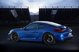 Обои Porsche Синий Сбоку Cayman GT4 Автомобили фото