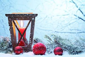 Фотография Свечи Новый год Снежинки Шар