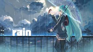 Vocaloid Дождь Hatsune Miku Зонт
