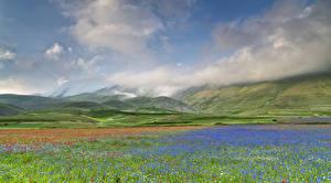 Фотографии Пейзаж Небо Луга Горы Италия Облака Umbria Castelluccio Природа