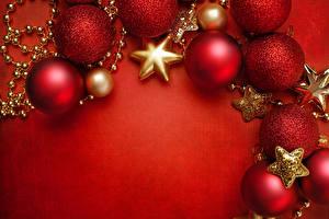 Фотографии Рождество Праздники Шар Красный Шаблон поздравительной открытки