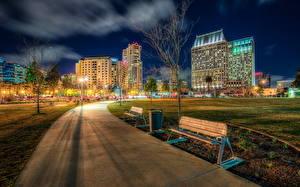 Фотографии Парки Здания Штаты HDR Ночные Скамья Тротуар Калифорния Сан-Диего Marina Ruocco Города