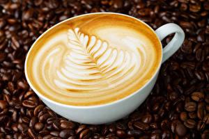 Обои Напитки Кофе Капучино Чашка Зерна Еда фото