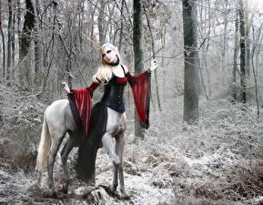 Фотография Единороги Лес Зимние Фэнтези Девушки
