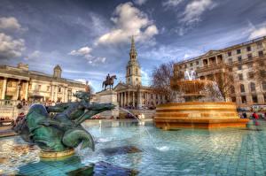 Обои Фонтаны Небо Англия HDR Лондон Городская площадь Trafalgar Square Города фото