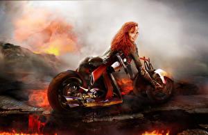 Картинка Bianca Beauchamp Мотоциклист Рыжая Лава Девушки Фэнтези