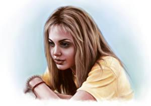 Обои Angelina Jolie Рисованные Смотрит Волосы Шатенка Девушки