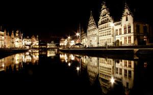 Фотография Дома Реки Бельгия Гент В ночи город