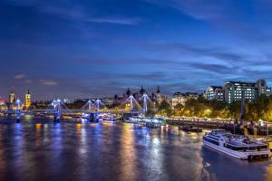 Картинки Великобритания Здания Речка Мосты Пристань Небо Лондоне Ночь Westminster Города