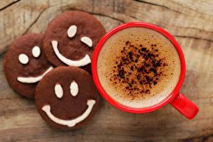 Фото Напитки Кофе Печенье Чашка