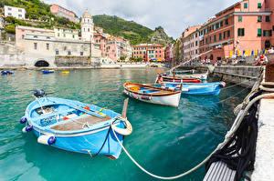 Фото Лодки Пирсы Здания Италия Вернацца Чинкве-Терре парк