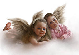 Обои Ангелы Крылья Два Девочка Фантастика