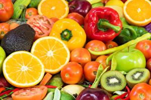 Обои Фрукты Овощи Помидоры Лимоны Перец Киви Яблоки Пища