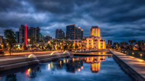 Фотография США Здания Фонтаны Сан-Диего Ночь Уличные фонари HDRI Города