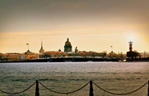 Обои Санкт-Петербург Россия Берег Мосты Речка neva