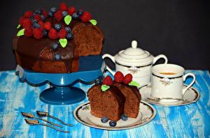 Обои Сладкая еда Торты Шоколад Малина Черника Кофе Чашка Пища