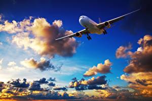Картинки Самолеты Небо Пассажирские Самолеты Облака Авиация