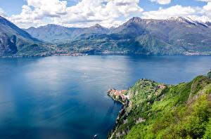 Обои Италия Озеро Горы Пейзаж Lake Como Природа