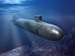 Картинки Подводные лодки военные 3D_Графика