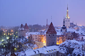 Фотография Эстония Здания Зимние Таллин Ночные Города