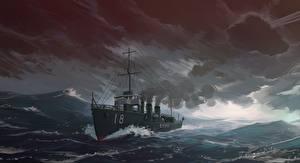 Фото Корабль Рисованные Море IJN destroyer Amatsukaze военные