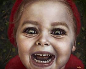Фотография Рисованные Лицо Смотрит Девочки Страшные Дети