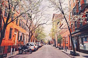 Картинки Дороги США Дома Деревья Улица Нью-Йорк город
