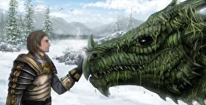 Картинка Dragon Age Воины Драконы Фэнтези