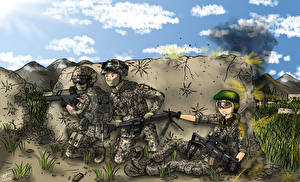 Обои Солдаты Трое 3
