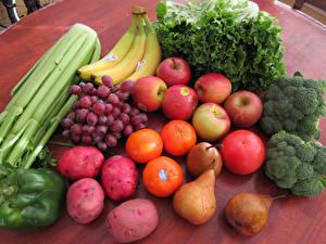 Картинки Овощи Фрукты Виноград Яблоки Картофель Бананы Томаты Груши Продукты питания