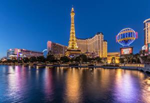 Фотографии Штаты Здания Реки Лас-Вегас Ночь