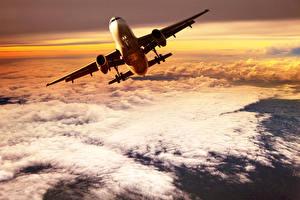 Картинки Самолеты Небо Пассажирские Самолеты Облака Полет