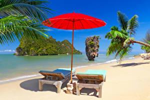 Фото Таиланд Тропики Побережье Скала Песок Шезлонг Зонт Пальмы Phuket Природа