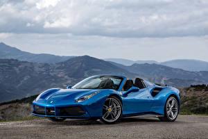 Фотографии Феррари Металлик Кабриолет Синий 2015 Ferrari 488 Spider
