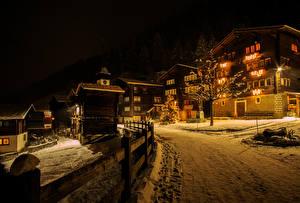 Фотография Швейцария Здания Зима Дороги Ночь Уличные фонари Снег Niederwald Города