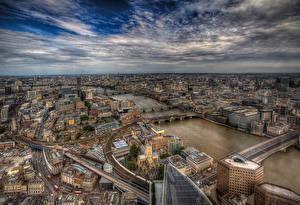 Обои Англия Здания Реки Мосты Небо Лондон Мегаполис HDR Сверху Города
