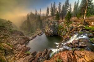 Обои США Водопады Озеро Калифорния Каньон Ель Webber Falls Природа фото