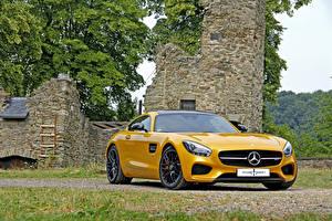 Фотографии Mercedes-Benz Желтая 2015 Posaidon AMG GT S C190 Автомобили