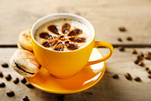 Обои Кофе Чашка Блюдце Зерна Макарон Еда фото