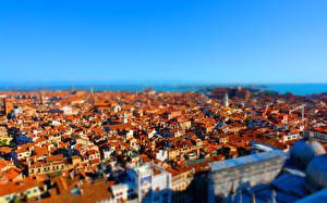 Обои Здания Италия Сверху Венеция tilt-shift город