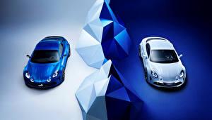 Картинки Renault Тюнинг Вдвоем Белый Металлик Синий 2016 Alpine Vision (Renault)