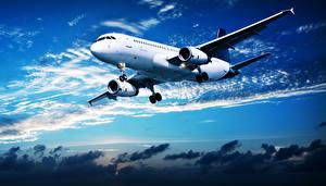Обои Самолеты Пассажирские Самолеты Небо Облака Летящий Авиация