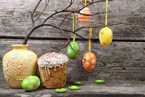 Обои Праздники Пасха Выпечка Кулич Яйца фото