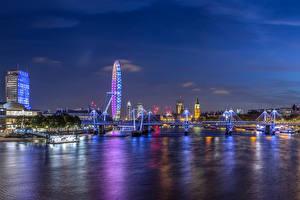 Фотографии Великобритания Здания Реки Мост Лондоне Колесо обозрения Ночь